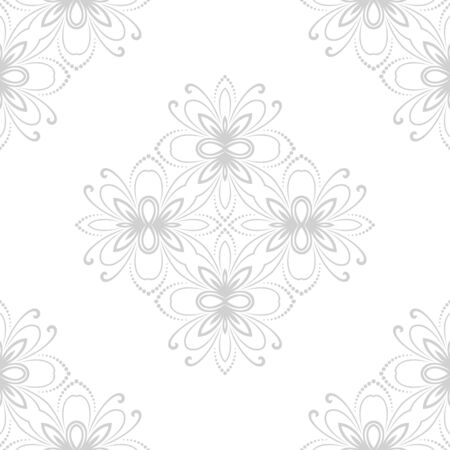 Damask vector floral light pattern with arabesque and oriental gray elements. Seamless abstract traditional ornament for wallpapers and background Vector