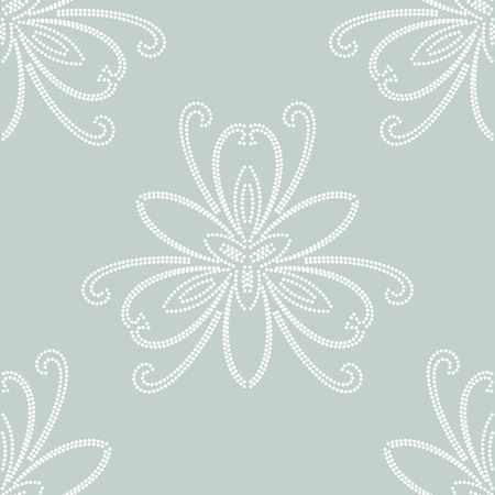 Oriental vector pattern with damask, arabesque and floral white elements. Seamless abstract background Vector