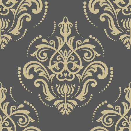 Floral vector oriental pattern with damask, arabesque and floral golden elements. Seamless abstract wallpaper and background Vector