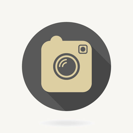 Camera vector giolden icon with flat design with long shadow Vector