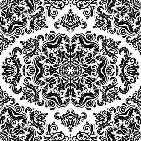 Oriental vector pattern with damask, arabesque and floral black elements. Light seamless abstract background Vector