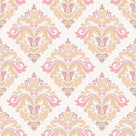 Damask vector floral pattern with arabesque and oriental colrful elements. Seamless abstract traditional ornament for wallpapers and backgrounds