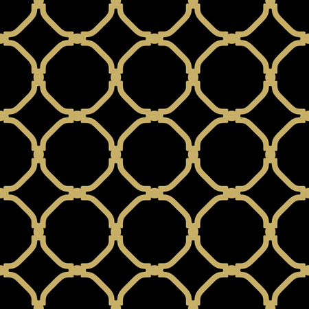 Geometric vector black pattern with golden elements. Seamless grill with abstract ornament Vector