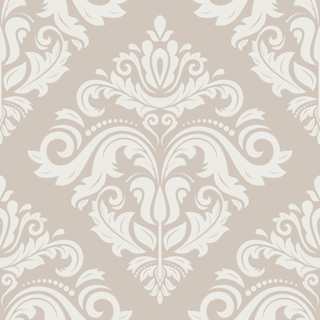 Oriental vector pastel pattern with damask, arabesque and floral white elements. Seamless abstract background Vector