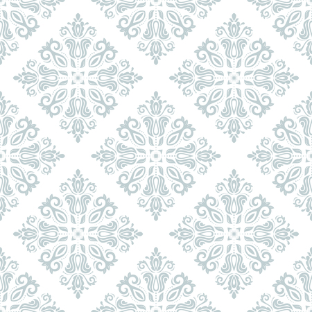 Damask vector floral pattern with arabesque and oriental elements. Seamless abstract traditional ornament for wallpapers and backgrounds. Blue and white colors Vector
