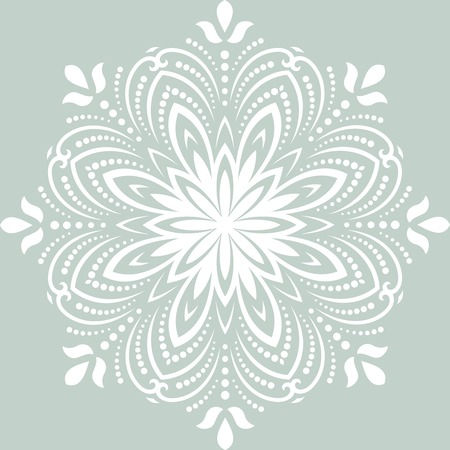 Damask vector floral pattern with arabesque and oriental white elements. Abstract traditional ornament for wallpapers and backgrounds Illustration