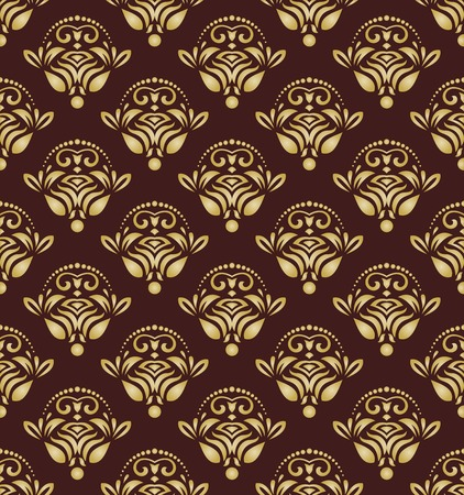 Oriental vector pattern with damask, arabesque and floral golden elements. Seamless abstract background Vector