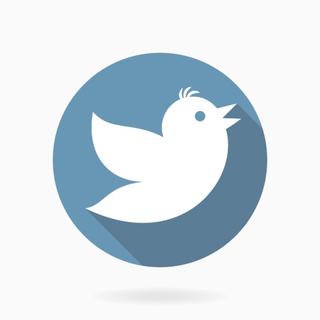 Vector icon with Flying bird in circle with flat design and long shadow. Blue and white colors Stock Illustratie