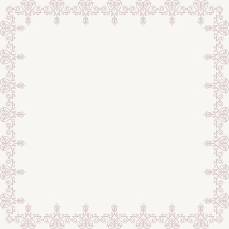 Oriental vector frame with damask, arabesque and floral pink pattern. Abstract ornament Vector