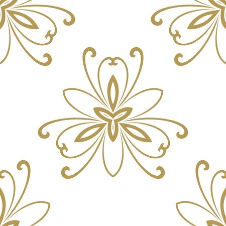 Floral vector oriental pattern with damask, arabesque and floral golden elements. Seamless abstract ornament for wallpapers and backgrounds Vector