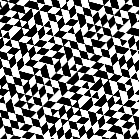 Geometric vector pattern with triangular elements. Seamless abstract ornament for wallpapers and backgrounds. Black and white colors
