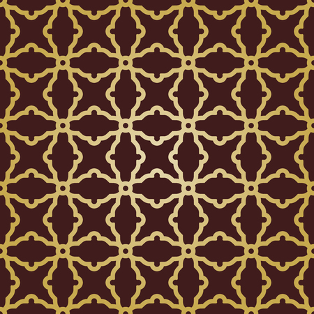 Geometric vector pattern with oriental golden elements. Seamless grill with abstract ornament Vector