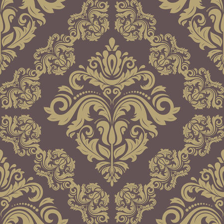 Damask vector floral pattern with arabesque and oriental elements. Seamless abstract traditional ornament for wallpapers and backgrounds Vector