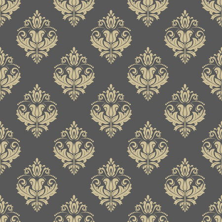 Damask vector floral pattern with arabesque and oriental golden elements. Seamless abstract traditional ornament for wallpapers and backgrounds Vector