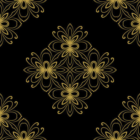 Floral  oriental pattern with damask, arabesque and floral elements. Seamless abstract wallpaper and background photo