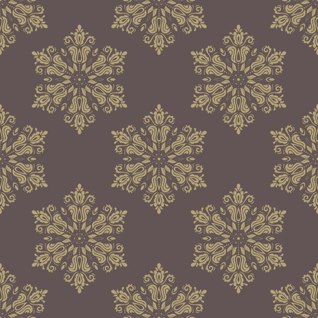 rapport: Floral vector oriental pattern with damask, arabesque and floral golden elements. Seamless abstract ornament for wallpapers and backgrounds