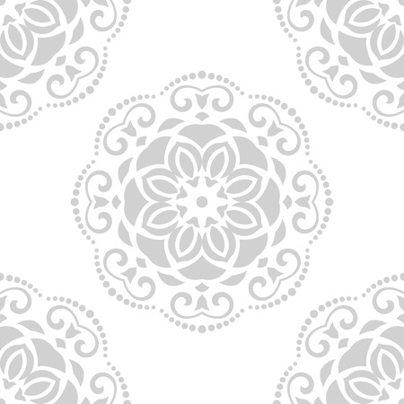 Damask vector floral pattern with arabesque and oriental gray elements. Seamless abstract traditional ornament for wallpapers and backgrounds Vector