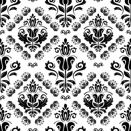 Oriental vector pattern with damask, arabesque and floral elements. Seamless abstract background. Black and white colors Vector