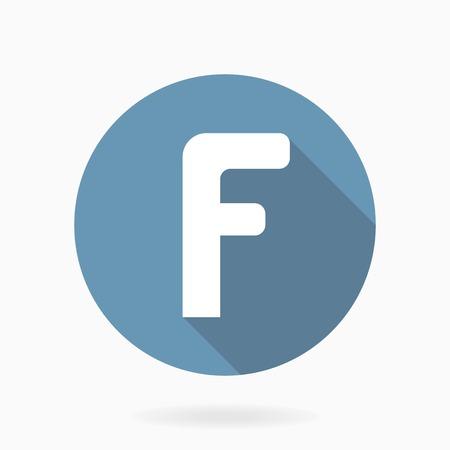 Blanc lettre F vecteur icône ronde bleu avec un design plat et ombre
