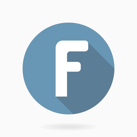 White letter F vector round blue icon with flat design and long shadow