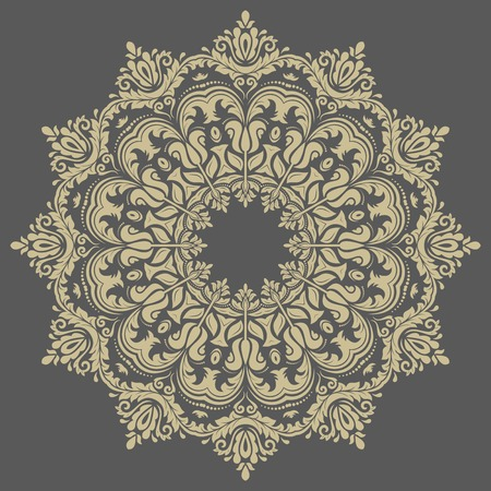 Floral vector oriental pattern with damask, arabesque and floral golden elements. Abstract ornament for background Vector