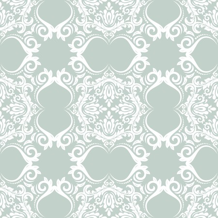 Oriental vector pattern with damask, arabesque and floral elements. Seamless abstract background. Blue and white colors 版權商用圖片 - 34771174