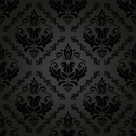 Damask vector floral pattern with black arabesque and oriental elements. Seamless abstract traditional ornament for wallpapers and backgrounds Vector