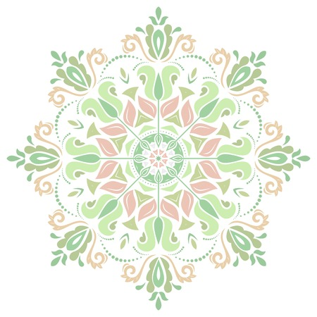 Damask vector floral pattern with arabesque and oriental pink and green elements. Abstract traditional ornament for wallpapers and backgrounds Vector