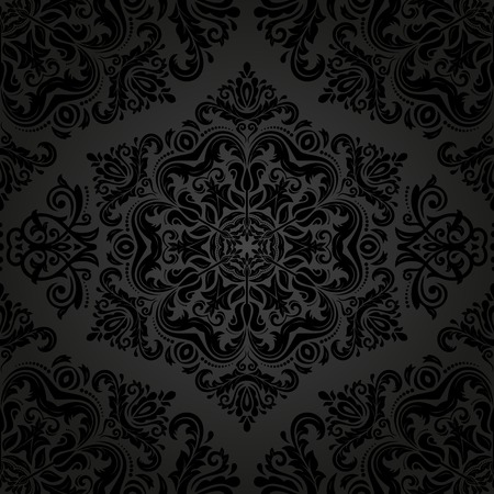 Damask vector floral pattern with arabesque and oriental dark elements. Seamless abstract traditional ornament for wallpapers and backgrounds Vector