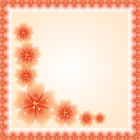 Oriental vector frame with damask, arabesque and floral orange pattern. Fine greeting card. EPS10 Vector