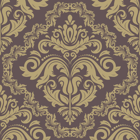 Damask vector floral pattern with arabesque and oriental elements. Seamless abstract traditional golden ornament for wallpapers and backgrounds Vector