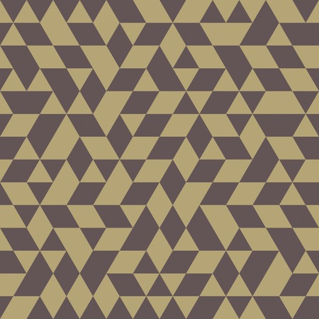Geometric vector pattern with triangular brown and golden elements. Seamless abstract ornament for wallpapers and backgrounds Vector