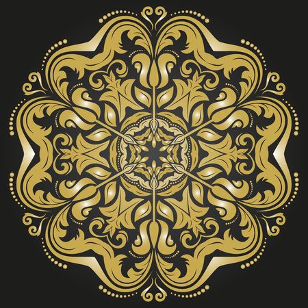 Damask vector floral pattern with arabesque and oriental elements. Abstract traditional ornament for wallpapers and backgrounds Vector