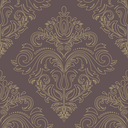 Damask golden vector floral pattern with arabesque and oriental elements. Seamless abstract traditional ornament for wallpapers and backgrounds Vector