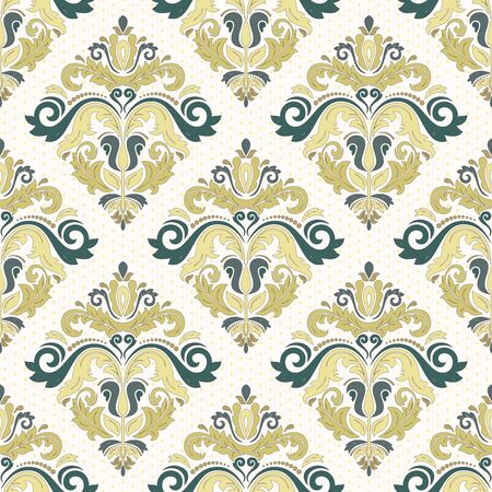 coloful: Damask vector floral pattern with arabesque and oriental elements. Seamless coloful abstract traditional ornament for wallpapers and backgrounds Illustration