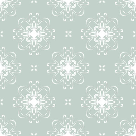 tillable: Floral vector oriental pattern with damask, arabesque and floral white elements. Seamless abstract ornament for wallpapers and backgrounds