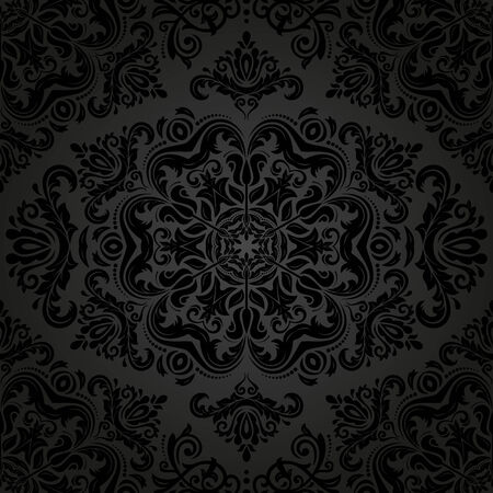 Damask vector floral pattern with arabesque and oriental black elements. Seamless abstract traditional ornament for wallpapers and backgrounds Vector