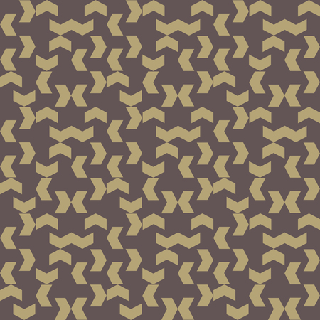 Geometric  brown pattern with triangular golden elements. Seamless abstract ornament for wallpapers and background photo