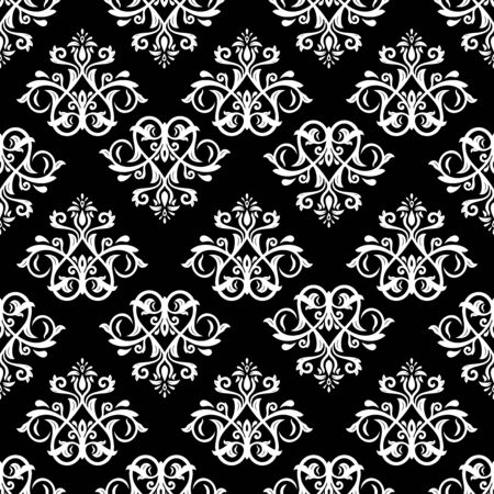 Damask seamless floral black and white pattern. Vector traditional ornament with oriental elements for wallpapers and backgrounds Vector