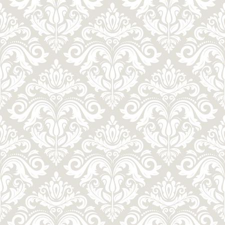 Behang in de stijl van de barok. Naadloze vector achtergrond. Licht damast bloemenpatroon met oriënteren en bloemen elementen Stockfoto - 35318508