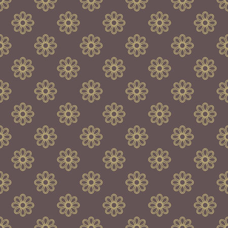 tillable: Floral vector oriental pattern with floral elements. Seamless abstract golden ornament for wallpapers and backgrounds