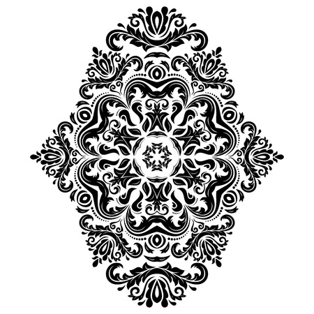 Damask vector floral pattern with arabesque and oriental elements. Abstract traditional ornament for wallpapers and backgrounds. Black and white colors Vector