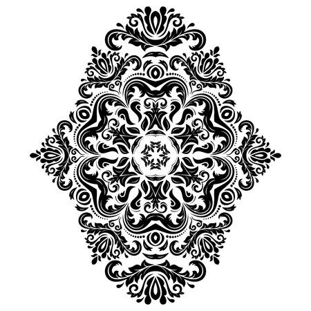 batik: Damassé de vecteur de motif floral avec des éléments d'arabesques et orientales. Résumé ornement traditionnel pour fonds d'écran et de milieux. Couleurs noir et blanc