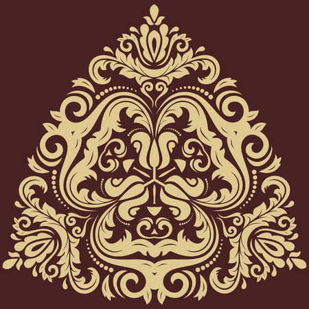 Damask vector floral pattern with arabesque and oriental elements. Abstract traditional golden ornament for wallpapers and backgrounds Vector