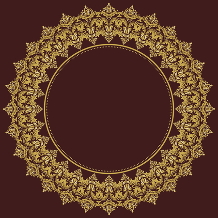Damask vector floral round pattern with golden arabesque and oriental elements. Abstract traditional ornament for wallpapers and backgrounds Vector