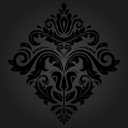 Damask vector floral pattern with arabesque and oriental elements. Abstract traditional dark ornament for backgrounds Vector
