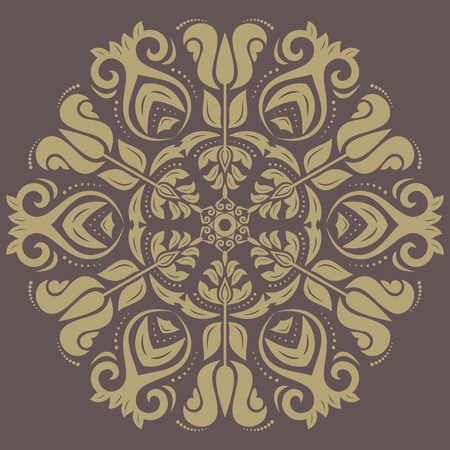 Damask vector floral pattern with arabesque and oriental elements. Abstract golden traditional ornament for backgrounds
