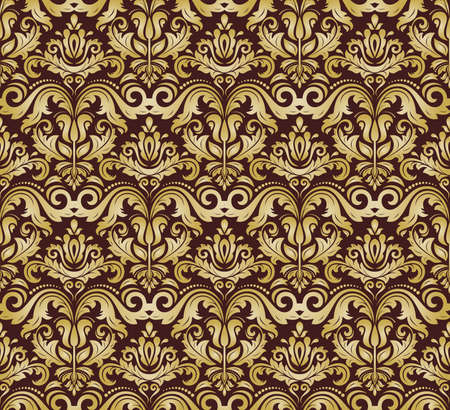 Damask seamless floral pattern. Vector traditional ornament with golden oriental elements for backgrounds Vector