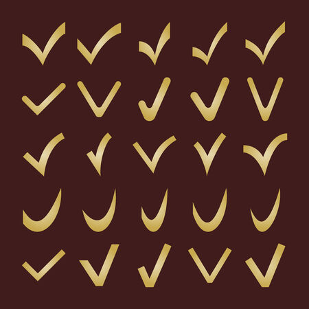 Set of different fine golden vector check marks Vector
