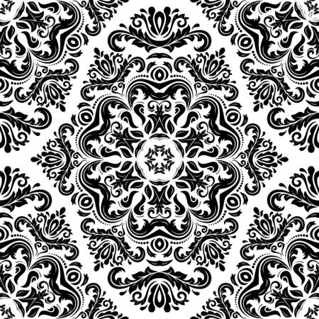 Damask seamless floral pattern. Vector traditional ornament with oriental elements for backgrounds. Black and white colors Vector